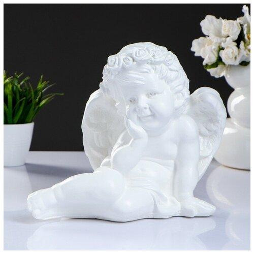 Фигура Ангел сидя средний 30х21х25см, белый фигура ангел пальчик во рту белый 8х9х15см 3865133
