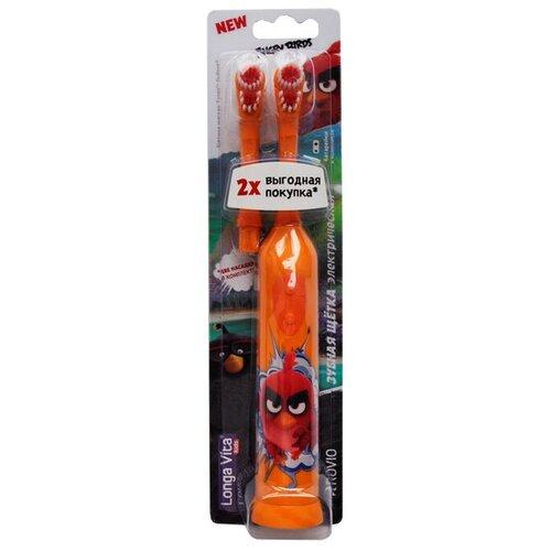 Электрическая зубная щетка Longa Vita Angry Birds цвет оранжевый детская зубная щетка 5 longa vita angry birds 1 мл