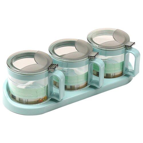 Банки для сыпучих продуктов, 3 штуки, объем банки 320 мл, цвет голубой, 30х8х10 см, kitchen angel ka-spc-05