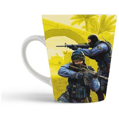 Кружка-латте CoolPodarok Контра Кс Кс Го 1 6 Соурс Counter Strike Cs Cs Go Cs 1 6 Source (двое на желтом фоне)