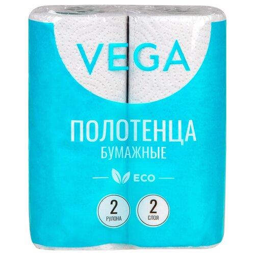 Полотенца бумажные в рулонах Vega, 2-слойные, 12м/рул, серые, 2шт.