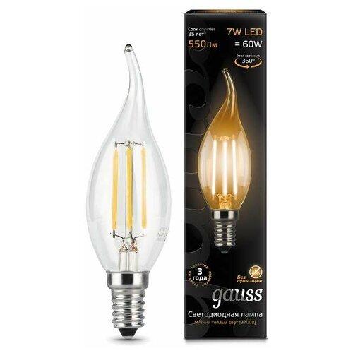 Фото - Лампа светодиодная Black Filament Свеча на ветру E14 7Вт 2700К Gauss 104801107 (упаковка 10 шт) лампа светодиодная 7вт 230в e14 filament теплый свеча gauss