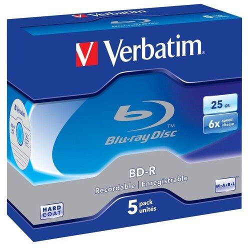 Диск BD-R Verbatim 25Gb 6x Jewel case (5 штук), Scratch proof (43715)
