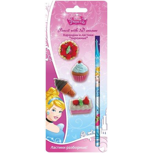 Набор канцелярский Принцессы карандаш, 4 ластика недорого