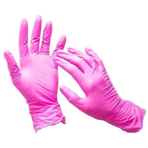 Фото - Перчатки нитриловые, розовые, размер M, 100 шт / Перчатки одноразовые / Перчатки хозяйственные перчатки одноразовые нитриловые черные wally plastic размер m 100 шт 50 пар