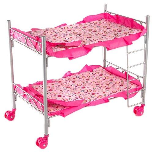 Buggy Boom Кроватка Loona двухъярусная (8887B) светло-розовый с разноцветными кружочками