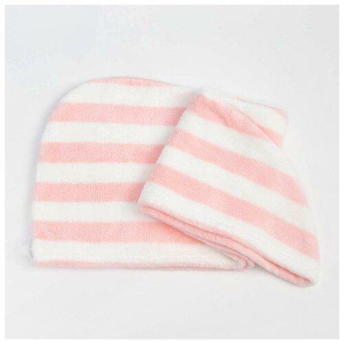 Чалма для сушки волос Этель Полоски цв.розовый, 65*25 см, 100% п/э 6897202  - Купить