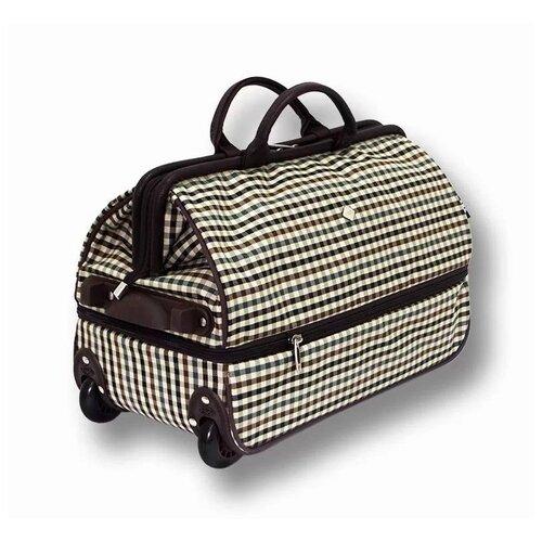 Дорожная сумка-саквояж TsV 514.2 бежевая клетка с колёсами
