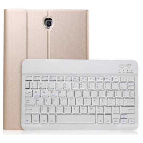 Клавиатура MyPads для Samsung Galaxy Tab A 10.5 SM-T590 (2018) / SM-T595 (2018) съемная беспроводная Bluetooth в комплекте c кожаным чехлом и пластиковыми наклейками с русскими буквами