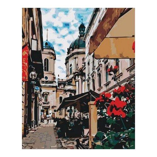 Купить Картина по номерам Улица с кафе, 40x50 см. Цветной, Картины по номерам и контурам