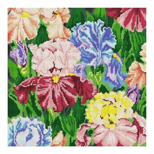 Купить Алмазная мозаика Ирисы, картина стразами Белоснежка 40x40 см., Алмазная вышивка