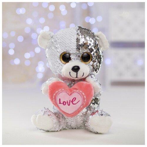Мягкая игрушка Медведь с сердцем пайетки