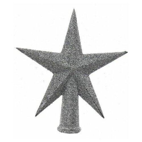 Елочная верхушка звезда делюкс малая, пластик, глиттер, серебряная,13 см, Kaemingk 029079-серебро