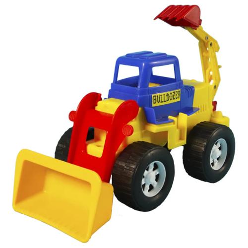Детский экскаватор игрушка с подвижным ковшом MAXIMUS синий / бульдозер игрушка / синий трактор игрушка / строительная техника игрушки / детская машина каталка для мальчиков / игрушка каталка / машинка детская каталка