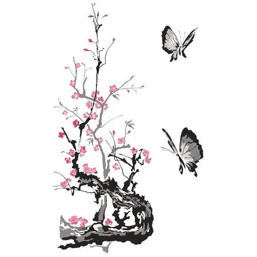 Наклейка Woozzee Бабочки с веткой сакуры суми-э NDS-1088-0706