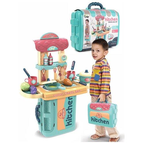 Кухня с набором посуды и продуктами, 21 предмет, в чемодане