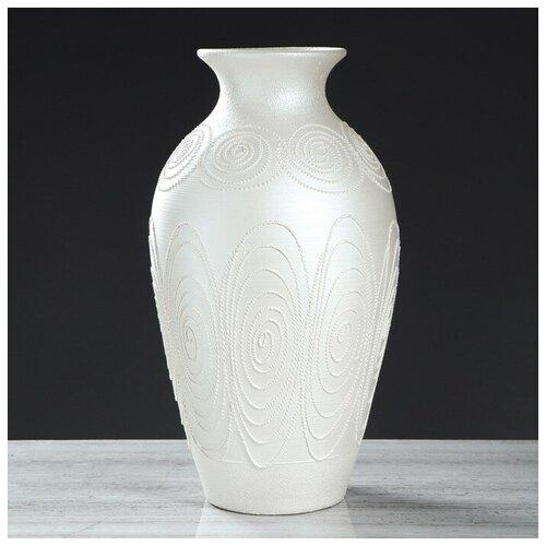 Керамика ручной работы Ваза напольная Классика перламутровая, 50 см, керамика ваза керамика ручной работы кегля 4341586 коричневый
