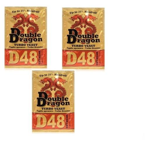 Турбо дрожжи Double Dragon D48, 3 штуки по 132 гр (комплект 3 штуки) Alcotec фигура мишки комплект 3 штуки 18см 1360694