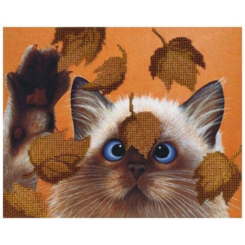 Котик в листьях набор габардин+бисер 22х28 МП-Студия БГ-182 22х28 МП-Студия БГ-182