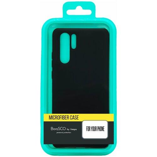 Силиконовый чехол BoraSCO Soft Touch с микрофиброй для Samsung (A207) Galaxy A20s черный