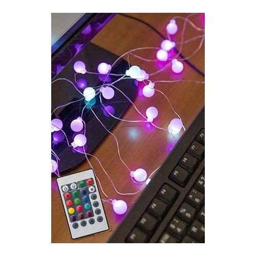 Электрогирлянда волшебные шарики, 32 RGB LED-ламп, 3+2 м, контроллер, диммер, ПДУ, питание от USB, SNOWHOUSE ILDBL32RGB- недорого