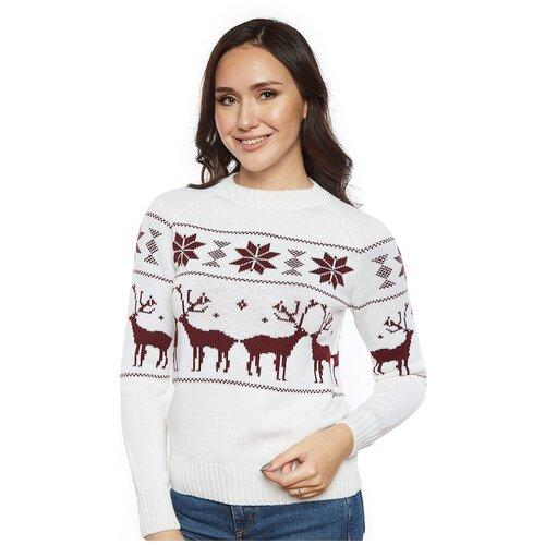 Шерстяной свитер, классический скандинавский орнамент с Оленями и снежинками, натуральная шерсть, молочный, бордовый цвет, размер M