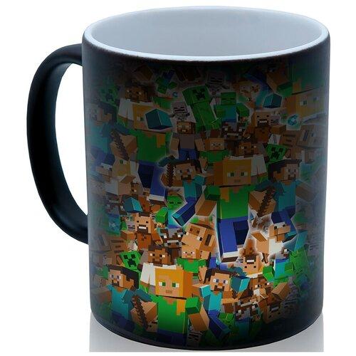 Кружка хамелеон по мотивам игры Майнкрафт (Minecraft), коллаж из персонажей, необычный сувенир