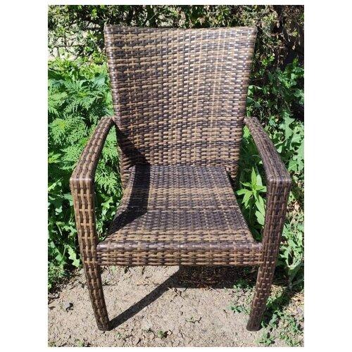 Кресло Лаос, плетеное из искусственного ротанга, орех градиент