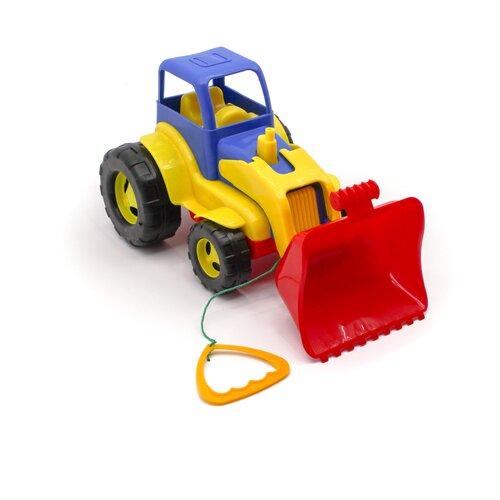 Детский экскаватор игрушка с подвижным ковшом 26 см MAXIMUS бульдозер игрушка / синий трактор игрушка / строительная техника игрушки / детская машина каталка для мальчиков / игрушка каталка / машинка детская каталка