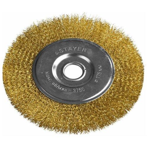 Фото - Щетка дисковая для УШМ витая стальная латунированная проволока 175 мм Stayer PROFI 35122-175 щетка для ушм 175 мм посадка 22 2 мм плоская латунированная витая проволока matrix