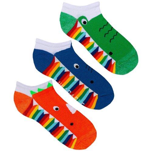 Короткие женские носки lunarable Крокодилы, размер 35-39, оранжевые, синие, зеленые