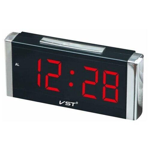 Часы настольные VST-731 черный/красный