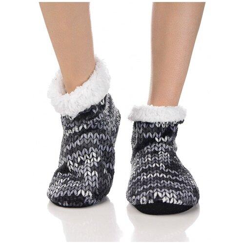 Плюшевые носки домашние с вязаным узором, противоскользящая подошва, внутренний подклад из искусственного меха, черный цвет, размер 35-37