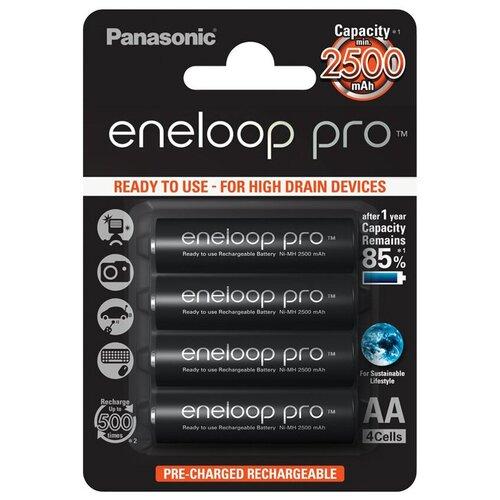 Фото - Аккумуляторы Panasonic Eneloop Pro AA 2500 мАч, 4 штуки (BK-3HCDE/4BE) аккумулятор aa fujitsu hr 3utceu 4b 1900 mah 4 штуки