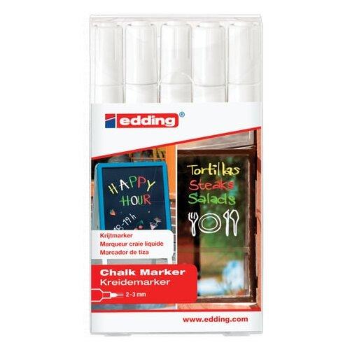 Маркеры меловые EDDING 4095 набор 5 шт., 2-3 мм, белые, влагостираемыей, для гладких поверхностей, E-4095/5S/49 edding маркеры 2 3 мм 5 шт 4500 разноцветные