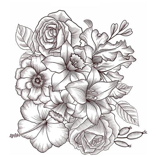 Наклейки для стен и мебели Woozzee Имитация гравюры, цветы NDS-858-0706