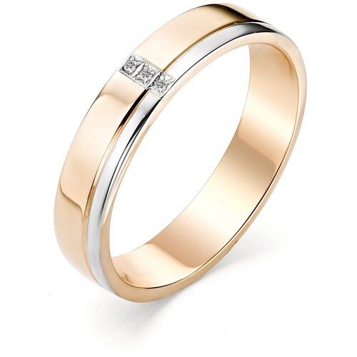 АЛЬКОР Кольцо с 3 бриллиантами из красного золота 12781-100, размер 17 алькор кольцо с 3 бриллиантами из красного золота 13552 100 размер 18
