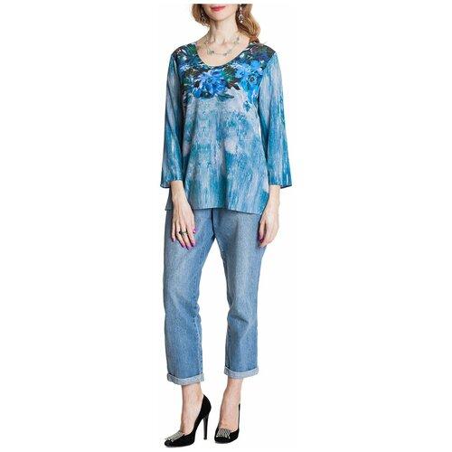 Блуза из крепа с эластаном голубой принт цветы