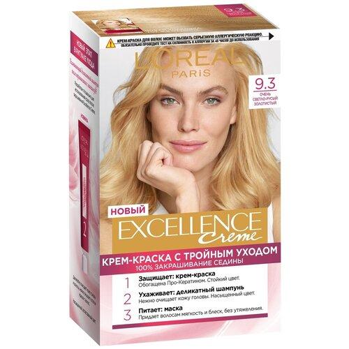 L'Oreal Paris Excellence стойкая крем-краска для волос, 9.3, Очень Светло-русый золотистый крем краска l oreal paris excellence creme стойкая для волос 5 3 золотистый светло каштановый