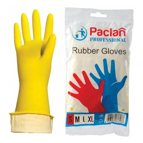Фото - Перчатки хозяйственные латексные, х/б напыление, размер S (малый), желтые, PACLAN Professional, 3 шт. перчатки хозяйственные paclan виниловые размер l 10 шт