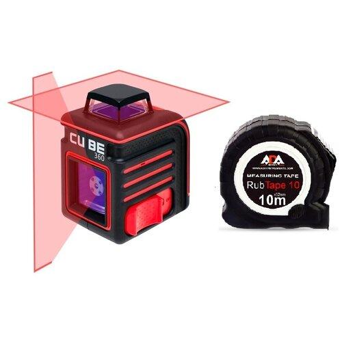 ADA Cube 360 Ultimate Edition лазерный уровень + рулетка ADA RubTape 10 в комплекте лазерный уровень ada cube 360 ultimate edition [а00446]