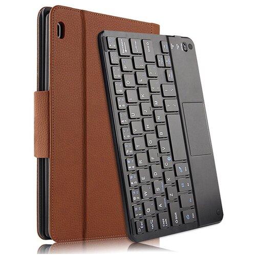Клавиатура Mypads для Lenovo Tab 4 10 Plus TB-X704L/F съемная беспроводная Bluetooth в комплекте c кожаным чехлом и пластиковыми наклейками с русскими буквами