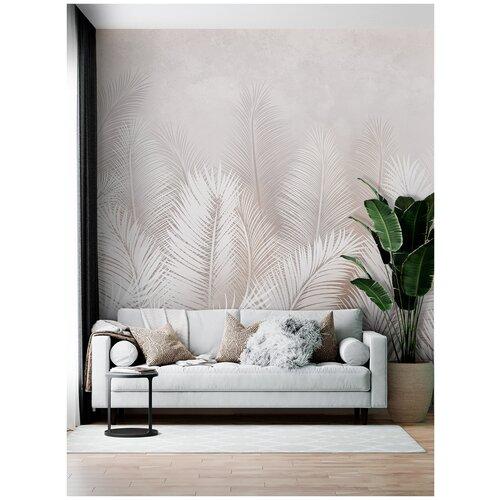 Фотообои Пальмовые листья в серо-коричневых тонах/ Красивые уютные обои на стену в интерьер комнаты/ 3Д расширяющие пространство/ На кухню в спальню детскую зал гостиную прихожую/размер 300х270см/ Флизелиновые