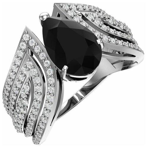 POKROVSKY Кольцо серебряное с синтетическим черным кварцем и бесцветными фианитами 1100947-04395, размер 18