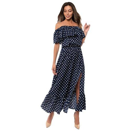 Платье сарафан в горох, открытые плечи с воланом, юбка колокольчик с воланом, синий размер XS
