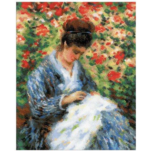 Купить Риолис Набор для вышивания Premium Мадам Моне за вышивкой (по мотивам картины К. Моне) 24 х 30 см (100/051), Наборы для вышивания