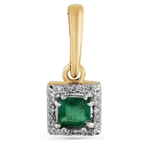 Мастер Бриллиант Подвеска с изумрудом и бриллиантами из красного золота 3-923-01