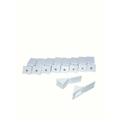 Уголок монтажный мебельный с заглушкой 22 мм, пластик, белый 10 шт