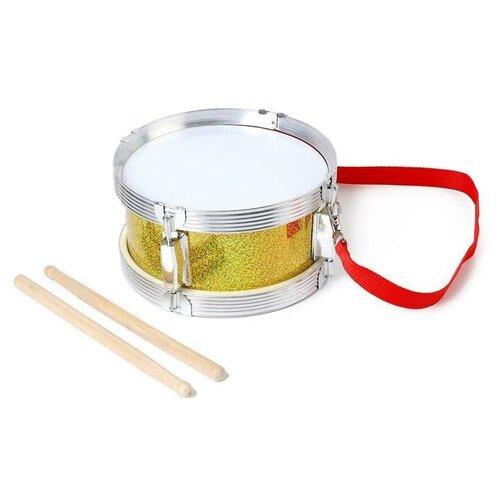 Купить Барабан Голд , с металлическим ободом и деревянными палочками, d=21 см 5354651, Сима-ленд, Детские музыкальные инструменты
