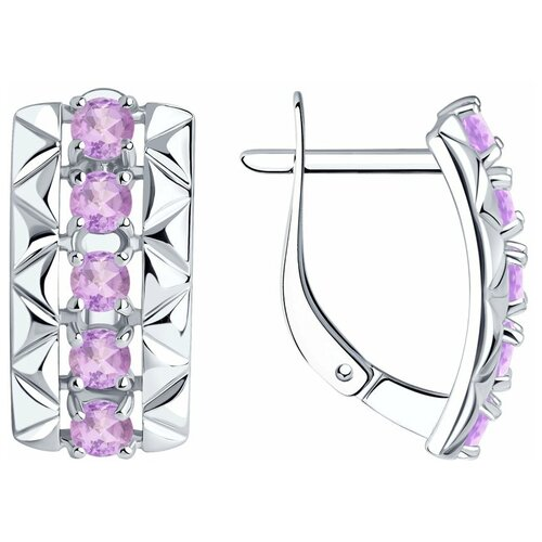 Diamant Серьги из серебра с аметистами 94-320-00800-2